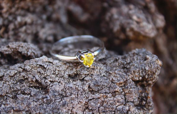 The Forsythia Ring//Bright Yellow Canary Tourmaline Ring//Size 5.75-6