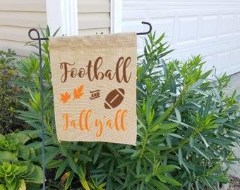 Fall garden flag, burlap garden flag, happy fall yall garden flag, garden flag, happy fall yall, burlap fall flag, garden decor, yard flag