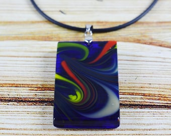 FREE Shipping, Glass pendant Fused glass jewelry, Cobalt color