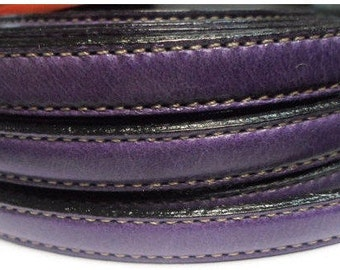 """Per 8"""" Purple Double Stitched 10mm Flat leather for flat leather bracelets, supplies,"""