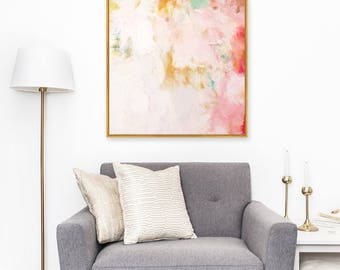 Cheri,6x6-36x36in, Large abstract print, Giclee Abstract Fine Art Print, pink