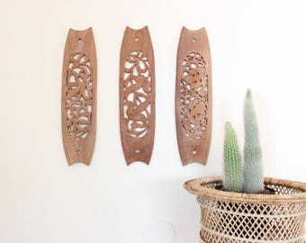 Vintage Wood Carvings Wall Art Trio of Intricately Carved Wood Panels Boho Home Decor