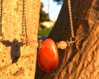 CARNELIAN & SUNSTONE Crystal Necklace on Antique Gold Chain | Genuine Teardrop Pendant, Unisex Crystal Healing Necklace