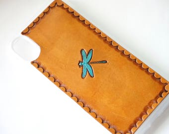Leather Galaxy Note 8 Case | Dragonfly