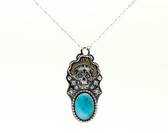 Sugar Skull Necklace, Turquoise Pendant, Turquoise Necklace, Silver Necklace, Day of the Dead, Gold Necklace, Dia De Los Muertos