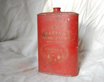 Hazard Sporting Powder Black Powder Tin Flask Original Red Paint Gold Lettering - Antique Gun Powder Tin Hazard Powder Company Antique Gun