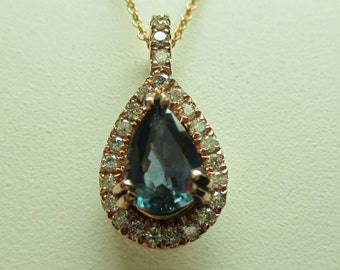 Remarkable 100% C-C .80ct Natural Alexandrite & .15ct Diamond 14kt Pendant W/Necklace-Layaway Welcome Here-