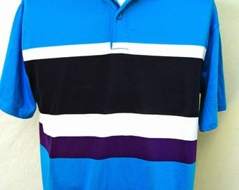 Vintage 90s Color Block Polo Shirt Mens Blue Purple Striped Short Sleeve USA Made  Prep Golf  L M 1990s Clothing