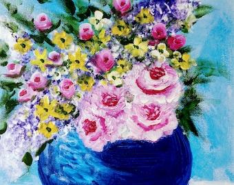 Vase of flowers, 11 x 14 acrylic painting