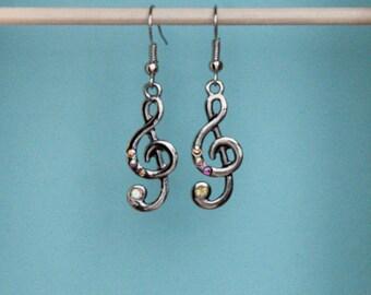 Silver Earrings, Silver Treble Clef Earrings, Silver Music Earrings, Silver and Crystal Earrings