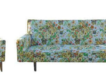 Mid Century Couch, Mid Century Chair, Mid Century Furniture,  Vintage Sofa, Sofa, Floral Sofa, 1960s Furniture, Living Room Chairs, 60s