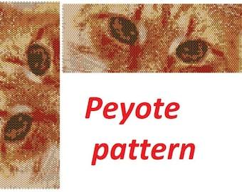 Pdf pattern Bead pattern kitty pattern Red-headed cat eyes design beading instructions cuff bracelet design peyote stitch beading tutorial