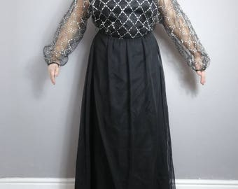 Vintage evening maxi dress / black silver long 70s dress / black vintage gown / vintage long party dress / boho festival maxi / Xmas party /