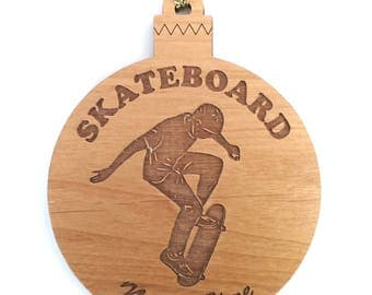Personalized Wood Skateboard Ornament