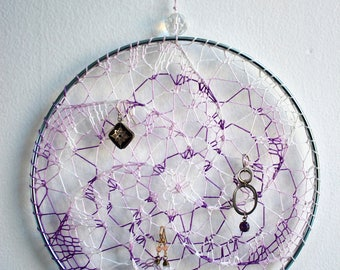 Earring Holder Display / Jewelry Organizer Stud Post & Dangle / Dreamcatcher -  Purple and White