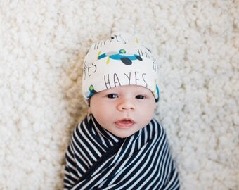 Personalized baby fold over name hat: baby and toddler personalized name hat organic cotton knit baby shower gift