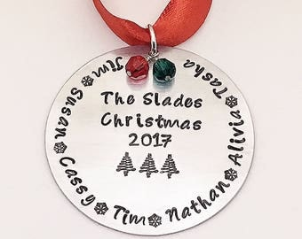 Personalized Family Christmas Ornaments - Silver - custom ornaments - Christmas trees