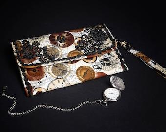 Handbag Evening Clutch Bag Steampunk Clocks Espace-Temps Black Lace Luxury Limited Edition