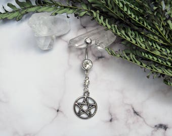 Facet Accent Gem Pentacle Witch Dangle Navel Ring
