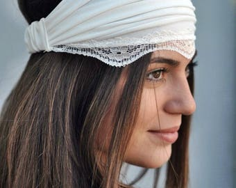 Boho Headband, Jersey Headband, Ivory Headband, Lace Headband, Running Turban, Yoga Turban, Workout Headband, Womens Turban, Womens Headband