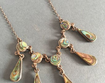 Vintage Antique Sterling Silver Necklace Abalone Shell Art Deco Style