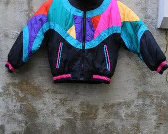1980s Metro Express Kids Ski Jacket Size 7-8 Funky Retro Colorful Ski Jacket Skiing Ski Wear Skiing Trip On Trend Snowboarding Winter Sports