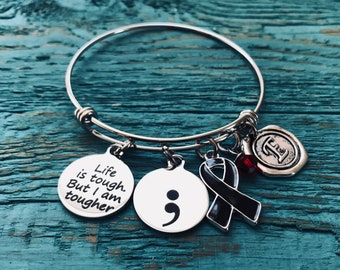 Life is tough but, I am tougher, Silver Bracelet, Fighter, Survivor, Black Ribbon, Awareness Ribbon, Narcolepsy, Sleep apnea, Melanoma