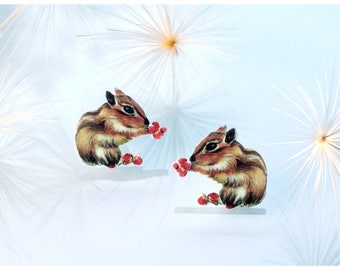 Chipmunk Brooch, Animal Jewelry, Woodland Animal, Brooch Pin, Woodland, Chipmunk Jewelry,  Animal Lover Gift, animal brooch, cute brooch