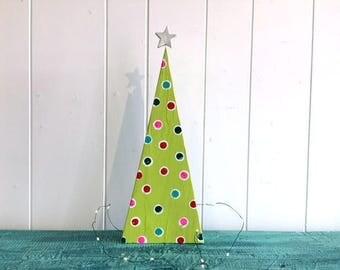 Modern Wooden Lime Green Polka Dot Christmas Table Mantel Tree Decor