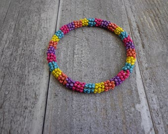 Vintage 80s Rainbow Seed Bead Bangle Bracelet Jewelry Retro Accessory Gifts For Her