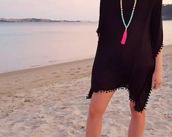 Caftan Dress - Black beach cover up kaftan dress with black pom pom trim