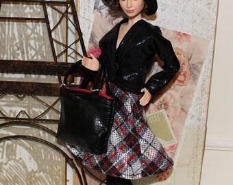 5 Pc Set Paris Chic Collection #2. Jacket, Dress, Hat, Stockings & Purse. Clothes fit Barbie size dolls. (Barbie Doll not included)