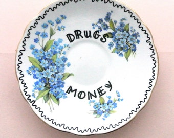 Drugs Money Ring Holder Decorative Plate Floral Ashtray Pretty Adult Mature Stocking Filler Ornamental Jewellery Dish Vintage Mary Jane Blue
