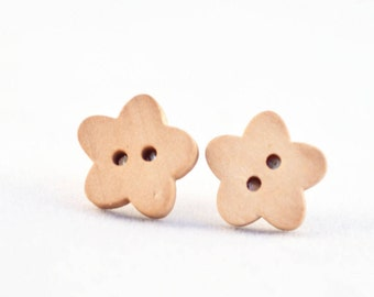 Wooden Button Earrings - Wood Stud Earrings, Button Earrings - Button Stud Earrings - Button Jewellery - Earrings Handmade - Cute Earrings