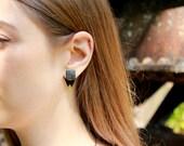 Front Back Earrings ~ Black Ear Jackets ~ Triangle Ear Jackets ~ Reversible Earrings ~ Black Square Stud Earrings