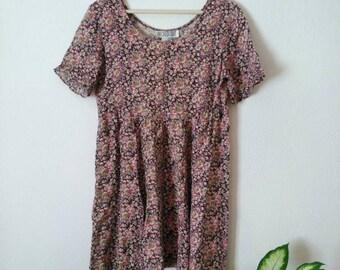 80s floral dress, small medium, rayon ruffle sleeve 80s 90s grunge, boho hippie hipster dress