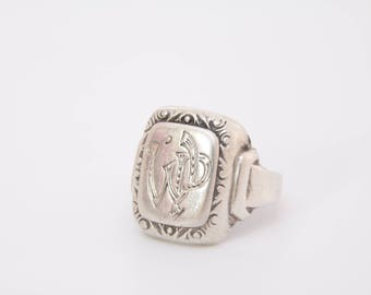 Antique French 800 silver Signet ring / rare signet ring / Heavy signet ring /French signet /initials signet ring /stamp ring / WP ring 1606
