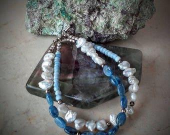 Blue opal, kyanite, and freshwater pearl bracelet, sterling pearl and opal bracelet, blue silver white bracelet, multi-strand bracelet