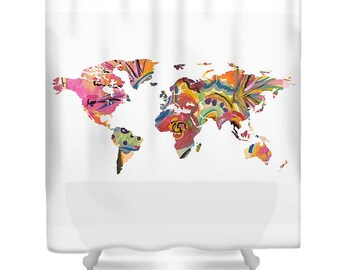 Map of The World Shower Curtain - Fabric Shower Curtain Art - Map Shower Curtain - World Map Shower Curtain - Unique Shower Curtain -