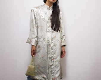 vintage 1970s peony satin chinese embroidered duster coat