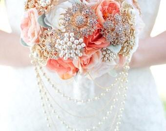 Custom Peony Rose Silk Flower Brooch Bouquet, Coral Blush Real Touch Artificial Bouquet, Bridal Bouquet, Dusty Miller Lamb Ears Faux Bouquet