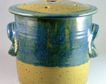 Pottery Compost Pot - Glossy Teal and Olive Green  / Kitchen Counter-Top Compost / Veggie Scrap Container