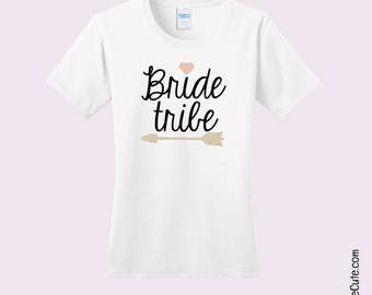 "Bridal Party Shirt says ""Bride Tribe"" - Various Ladies T-shirt Sizes in Black or White Comfy Cotton - Cute Bridesmaid Shirts"