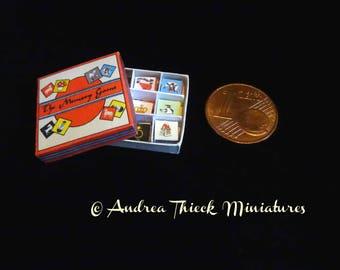 Vintage Miniature Memory Game - Artisan Handmade Miniature 1:12 scale
