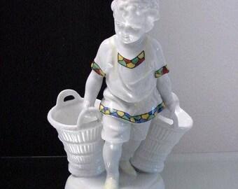 vintage porcelain jardinière, boy with two flower baskets