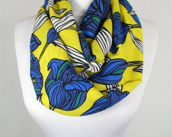 Soft Cotton Scarf Infinity Scarf Cobalt Yellow Floral Scarf Spring Summer Fall Winter Women Fashion Accessories 47