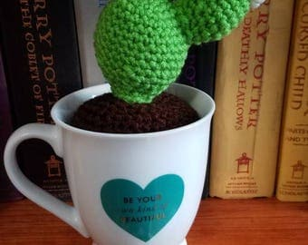 """Crocheted Prickly Pear Cactus In A """"Be Your Own Kind Of Beautiful"""" Coffee Mug Planter - READY TO SHIP"""