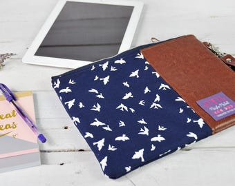 Tablet Case 9.7 Ipad Sleeve 10.5 Ipad Pro 10.1 Samsung Tab S2 S3 Ipad Accessories Computer Storage Brown Recycled Leather Navy Blue Bird