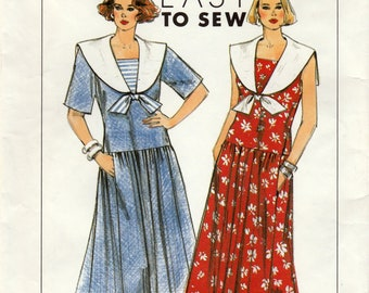 Misses/Miss Petite Pullover Loose-Fitting Dress, Simplicity 9554 Sewing Pattern, Multi-Size 8, 10, 12, 14, Uncut Vintage