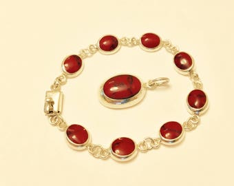 Vintage Red Jasper and Sterling Silver Bracelet and Pendant Set - Mexico 1990's